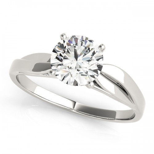 14k White Gold Solitaire Semi-Mount Top View