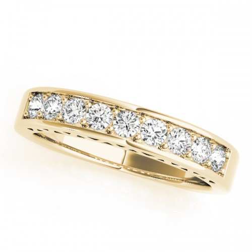14k Yellow Gold Channel Set Wedding Band Top View
