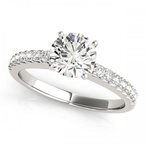 14k White Gold Prong Set Engagement Ring Top View