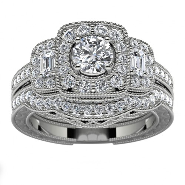 14k White Gold Three Stone Halo Diamond Engagement Set Top View