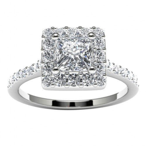 14k White Gold Princess Diamond Halo Engagement Ring Top View