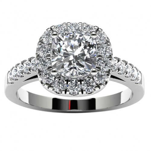 14k White Gold Halo Cushion Engagement Ring Top View