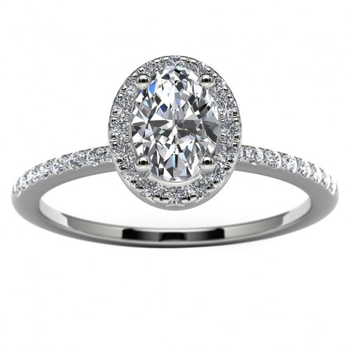14k White Gold Oval Halo Engagement Ring Top View