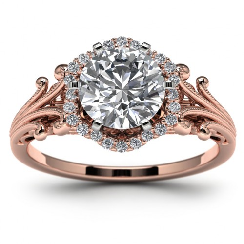 14K Rose Gold Halo Wedding Ring Top View