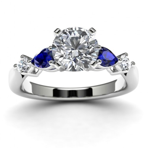 14k White Gold Side Stone Diamond Engagement Ring Top View
