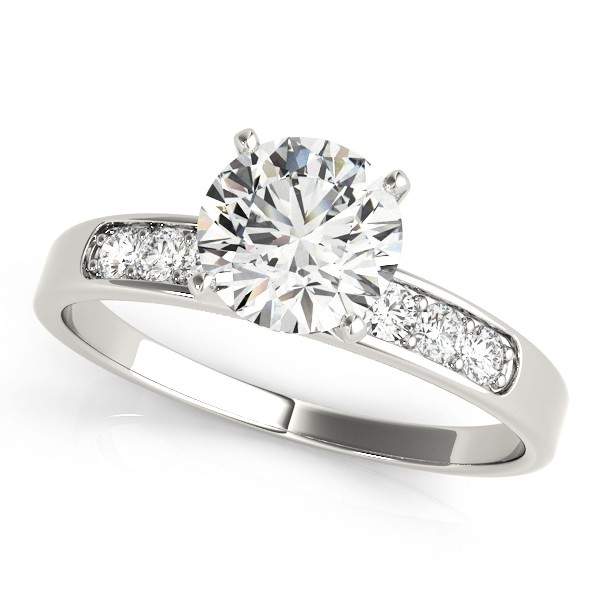 14k White Gold Diamond Single Row Channel Set Engagement Ring Top View