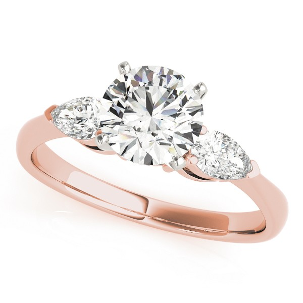 14k Rose Gold Three Stone Engagement Ring