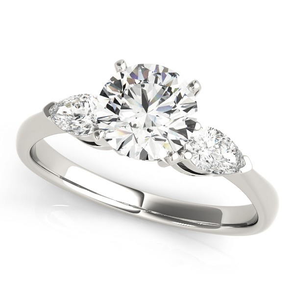 14k White Gold Three Stone Engagement Ring Top View