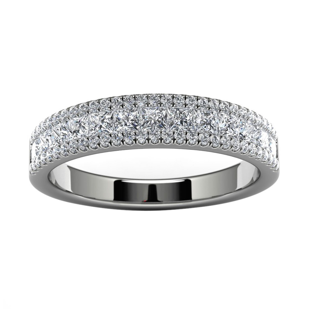 18k White Gold Pave Wedding Band