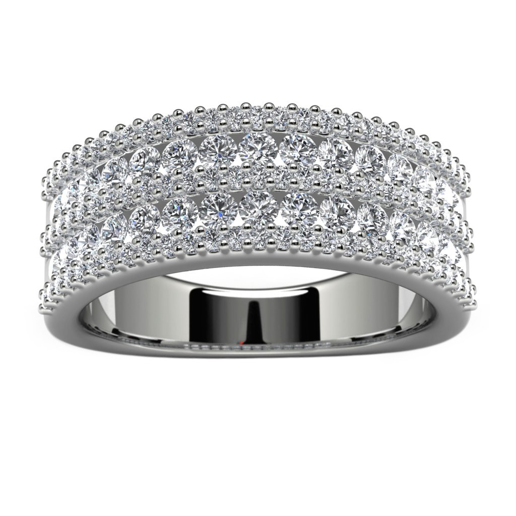 14k White Gold Side Stone Wedding Band Top View