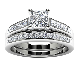 14k White Gold Princess Diamond Engagement Ring Top View