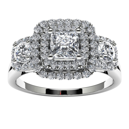 14k White Gold Three Stone Princess Halo Diamond Engagement Ring