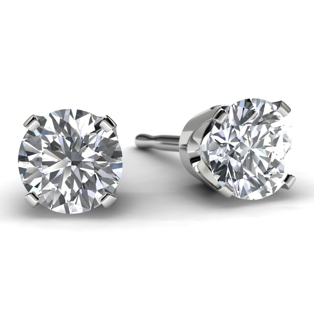 1 0 Tdw White Gold Solitaire Diamond Earrings