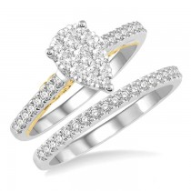 PEAR SHAPE LOVEBRIGHT DIAMOND WEDDING SET