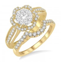 FLOWER SHAPE LOVEBRIGHT DIAMOND WEDDING SET