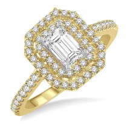 OCTAGON SHAPE DIAMOND ENGAGEMENT RING