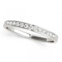 14k White Gold Channel Set Diamond Wedding Band Top View