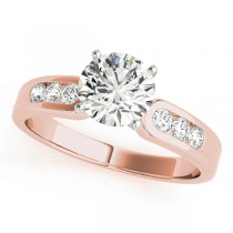 14k Rose Gold Channel Set Diamond Engagement Ring Top View