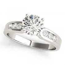 14k White Gold Channel Set Diamond Engagement Ring