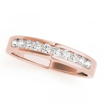 14k Rose Gold Channel Set Diamond Wedding Band Top View