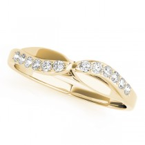14k Yellow Gold Diamond Bypass Wedding Band Top View