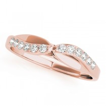 14k Rose Gold Diamond Bypass Wedding Band Top View