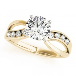 14k Yellow Gold Diamond Bypass Engagement Ring