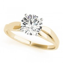 14k Yellow Gold Solitaire Semi-Mount Top View