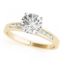 14k Yellow Gold Channel Set Diamond Engagement Ring Top View