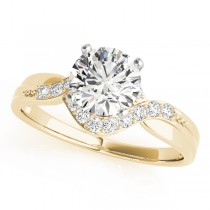 14k Yellow Gold Diamond Bypass Engagement Ring
