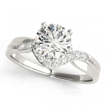 14k White Gold Diamond Bypass Engagement Ring