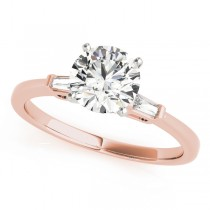 14k Rose Gold Three Stone Baguette Engagement Ring Top View