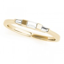 14k Yellow Gold Three Stone Baguette Wedding Band Top View