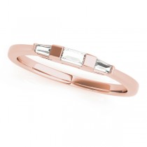 14k Rose Gold Three Stone Baguette Wedding Band Top View