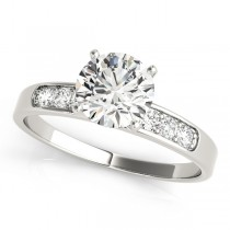 14k White Gold Diamond Single Row Channel Set Engagement Ring