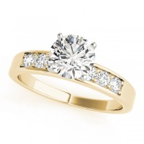 14k Yellow Gold Diamond Channel Set Engagement Ring Top View
