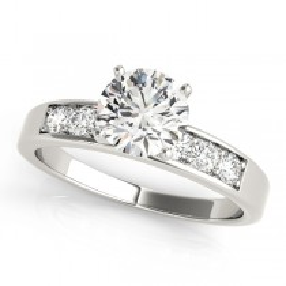 14k White Gold Diamond Channel Set Engagement Ring