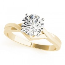 14k Yellow Gold Twisted Diamond Engagement Ring