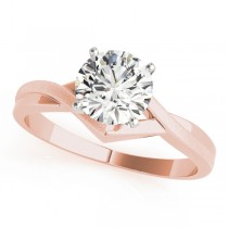 14k Rose Gold Twisted Diamond Engagement Ring