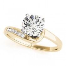 14k Yellow Gold Twisted Channel Diamond Engagement Ring