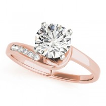 14k Rose Gold Twisted Channel Diamond Engagement Ring