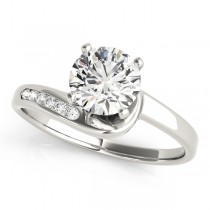 14k White Gold Twisted Channel Diamond Engagement Ring