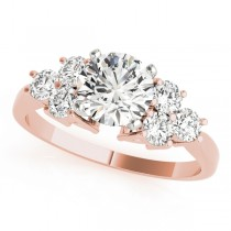 14k Rose Gold Side Stone Engagement Ring