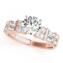 14k Rose Gold Fancy Baguette Diamond Semi-Mount Top View