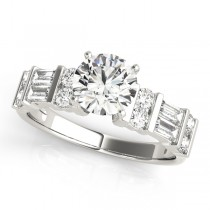 14k White Gold Fancy Baguette Diamond Semi-Mount Top View