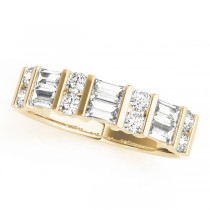 14k Yellow Gold Fancy Baguette Diamond Wedding Band Top View