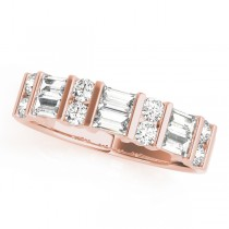 14k Rose Gold Fancy Baguette Diamond Wedding Band Top View