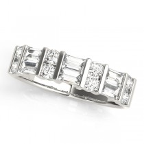 14k White Gold Fancy Baguette Diamond Wedding Band Top View