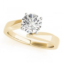 14k Yellow Gold Twisted Diamond Engagement Ring Top View