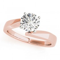 14k Rose Gold Diamond Twisted Engagement Ring